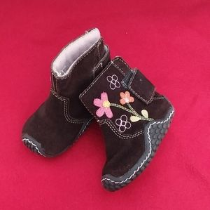 Brown Suede Flowered Boots size 2